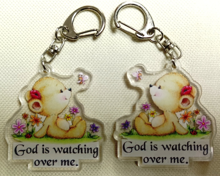 Double Sided GOD IS WATCHING OVER ME Acrylic Keychain