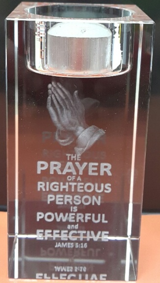 3D Crystal candle holder THE PRAYER OF A RIGHTEOUS PERSON