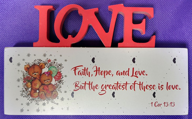 3D Mdf Wood Plaque - Love