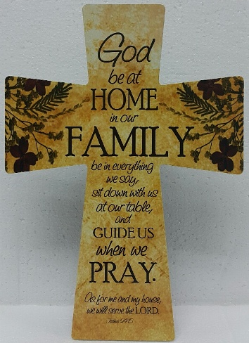 20 x 28 MDF Cross GOD BE AT HOME