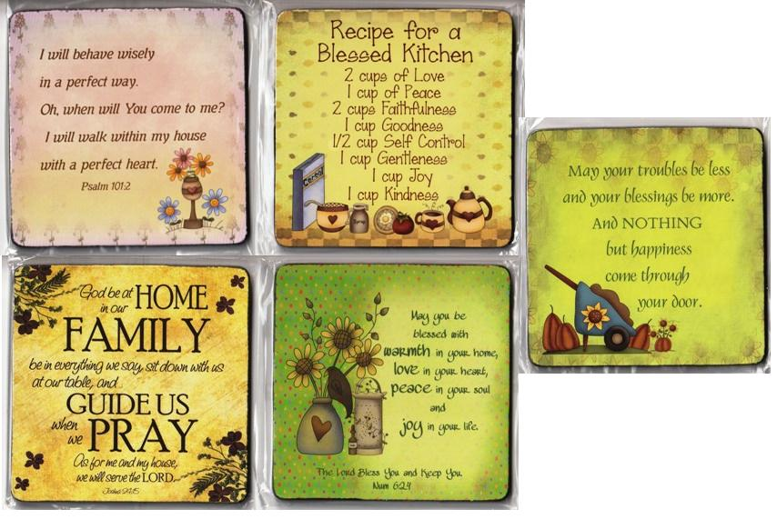 GARDEN SERIES COASTER MAY YOUR TROUBLES BE LESS SET OF 5