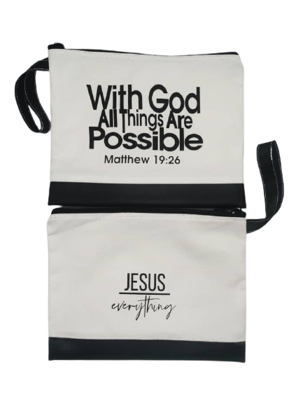 Duo Tone Canvas utility bag With God all things are possible
